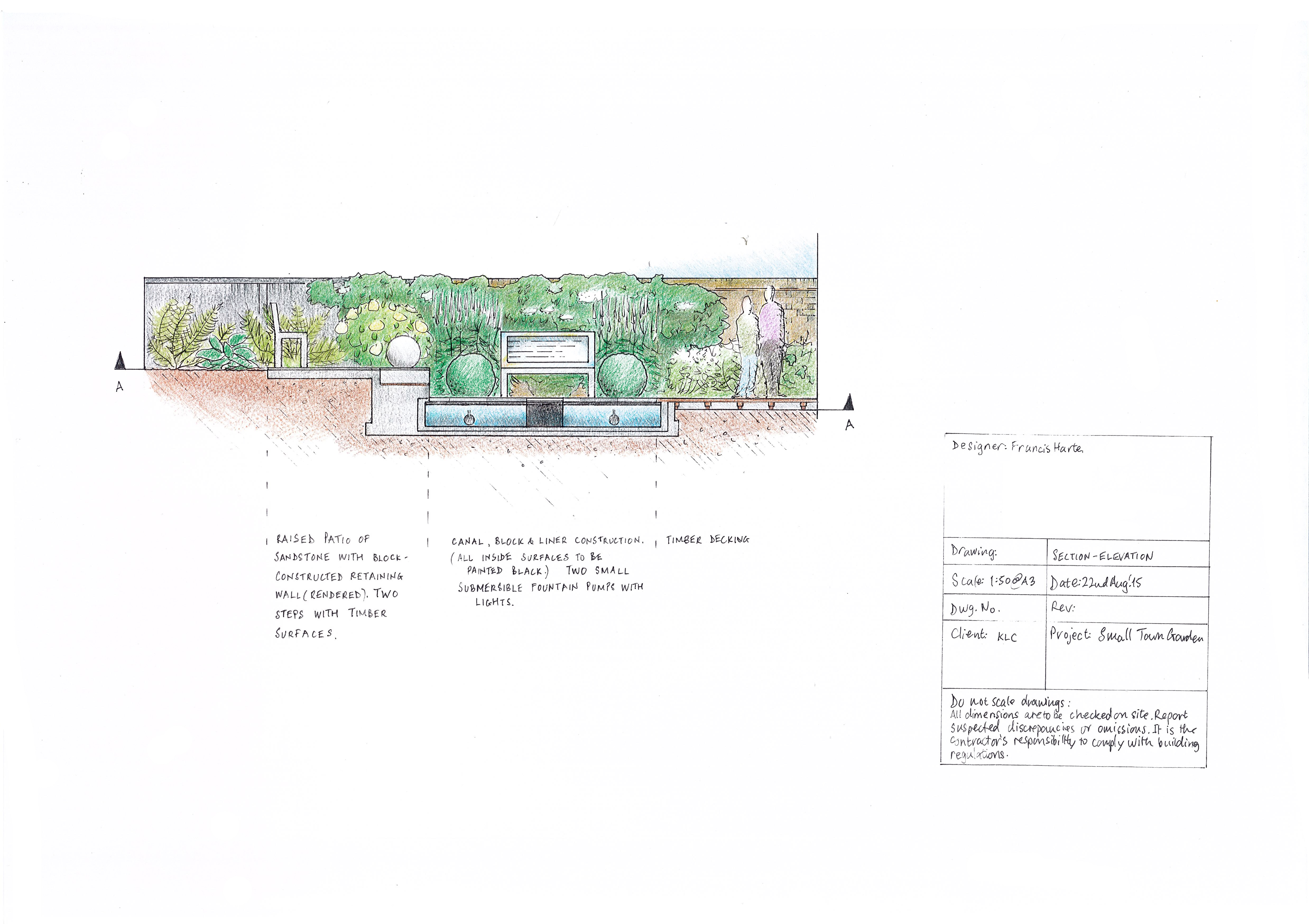 3.2 Small Town Garden Section-Elevation by Francis Harte
